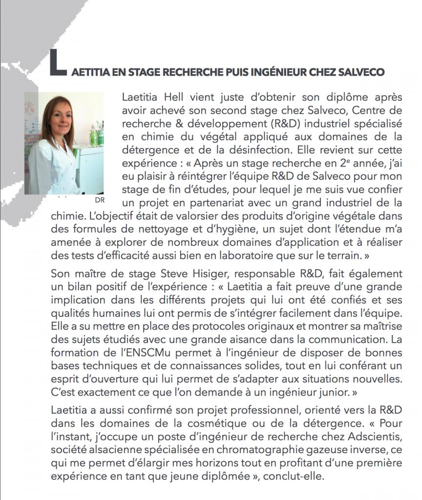 Laetitia - Stage recherche puis ingénieur chez Salveco